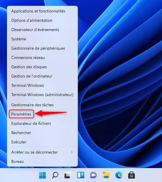 Paramètres Windows 11