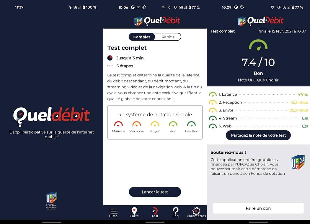 QuelDébit : une application pour tester la qualité du réseau mobile