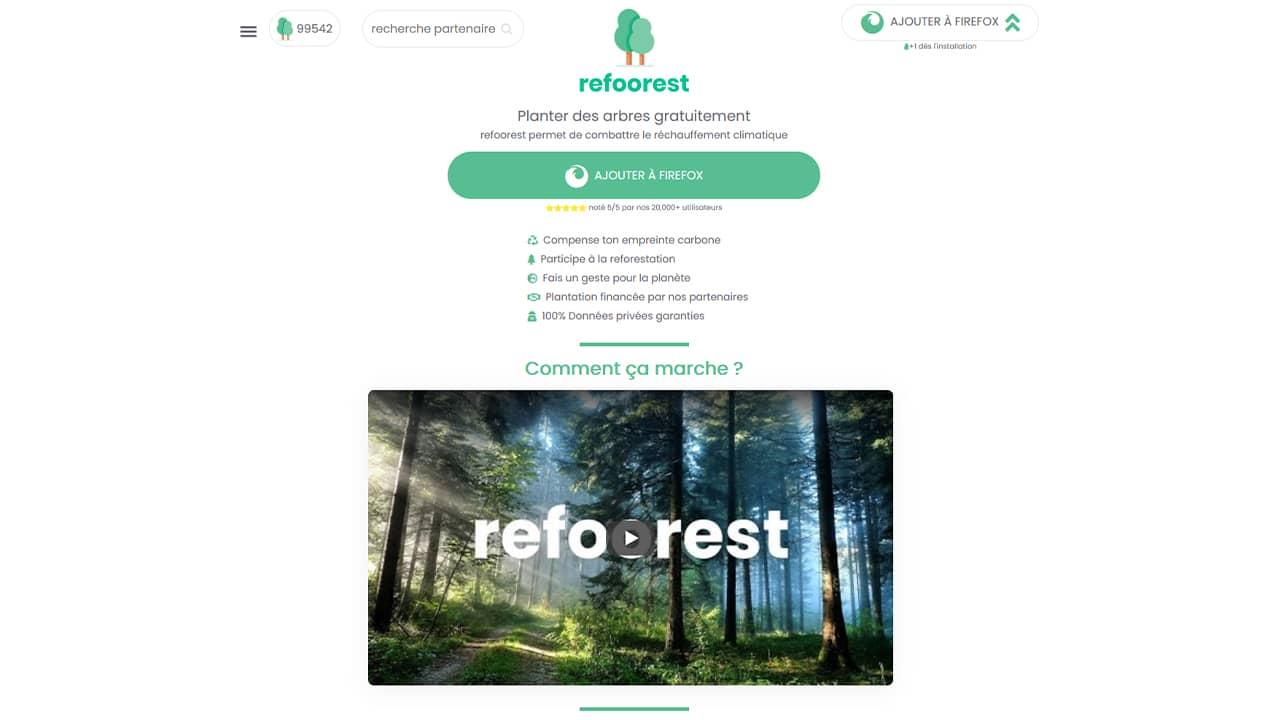 Refoorest : une extension de navigateur qui permet de planter des arbres gratuitement
