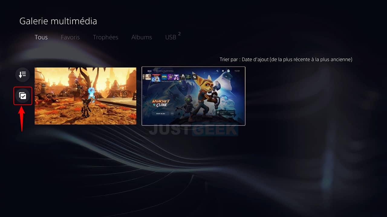 Sélectionner plusieurs captures d'écran et clips vidéo sur la PS5