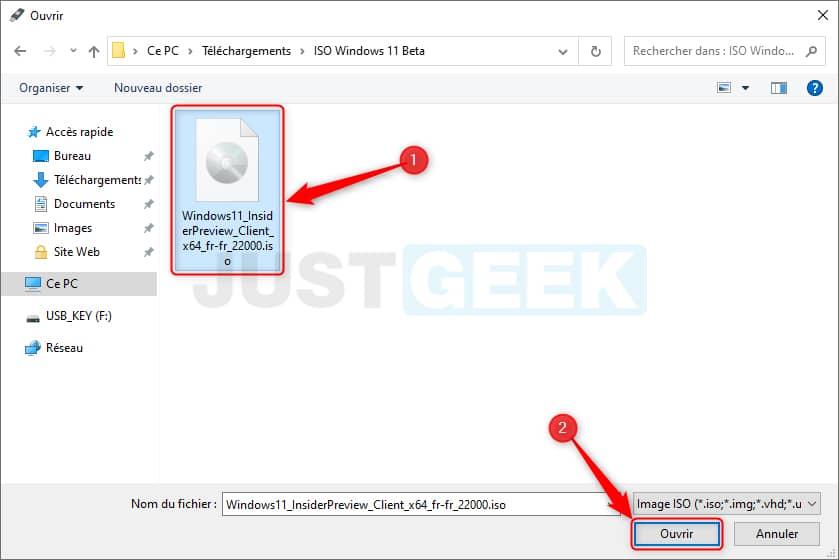 Sélectionnez l'image ISO de Windows 11 Beta dans Rufus
