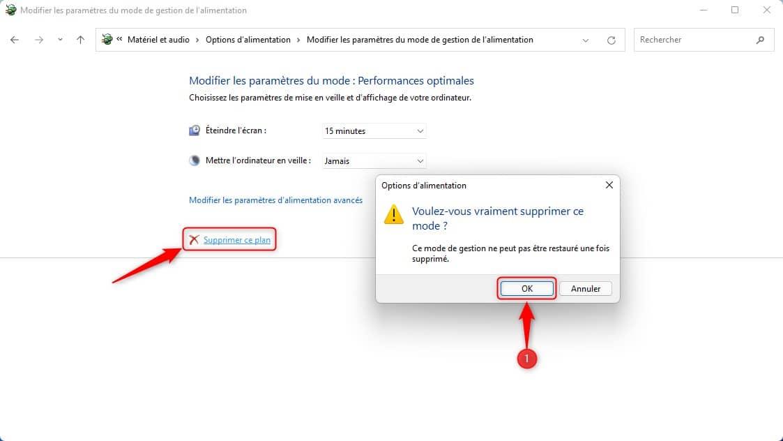 Supprimer le plan d'alimentation Performances optimales dans Windows 11