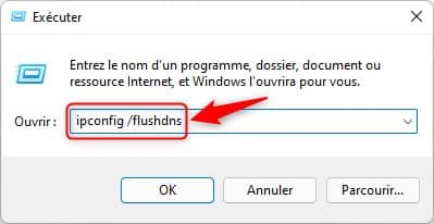Effacer le cache DNS avec la commande Exécuter