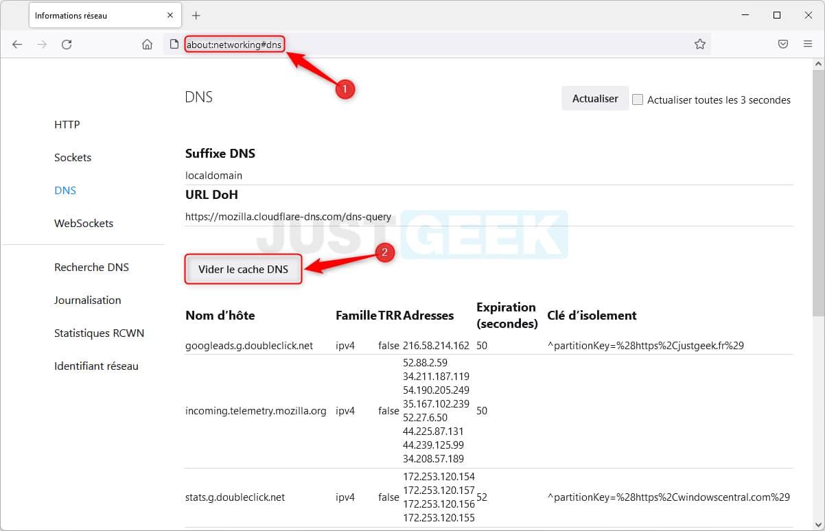 Vider le cache DNS dans Firefox