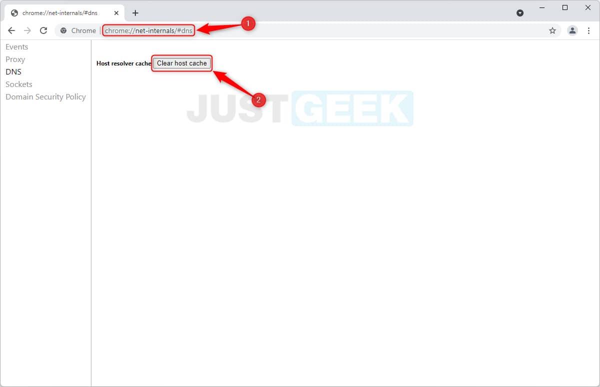 Vider le cache DNS dans Google Chrome