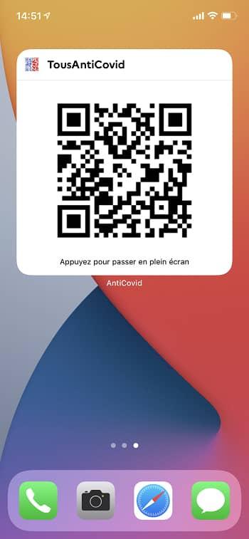 Widget QR code pass sanitaire iPhone