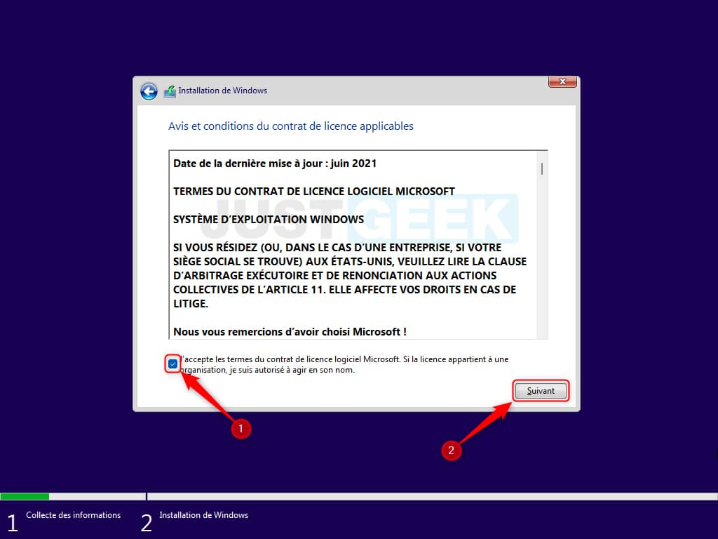 Cochez la case « J'accepte les termes du contrat de licence logiciel Microsoft »