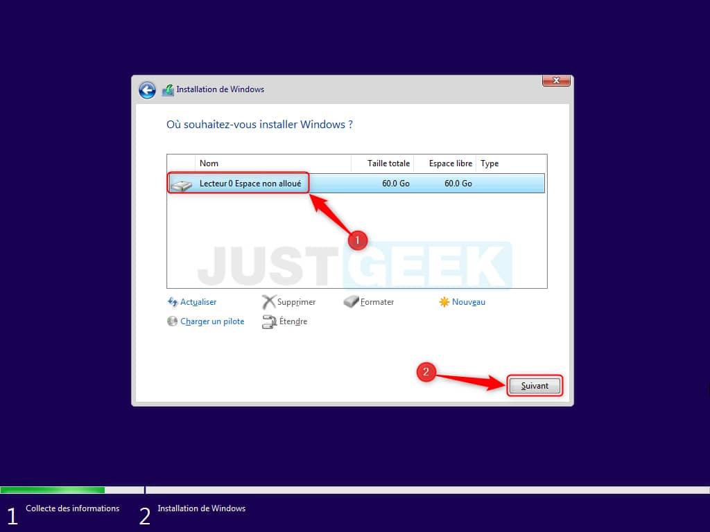 Sélectionnez le disque dur ou SSD sur lequel vous souhaitez installer Windows 11 Beta