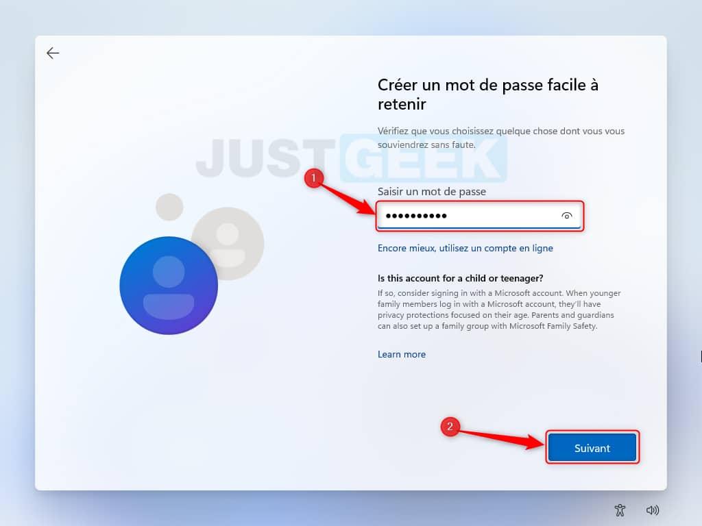 Choisissez un mot de passe pour votre compte local Windows 11 Beta