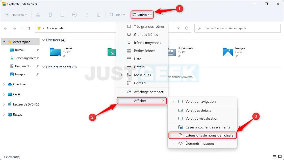 Afficher les extensions de fichiers dans Windows 11