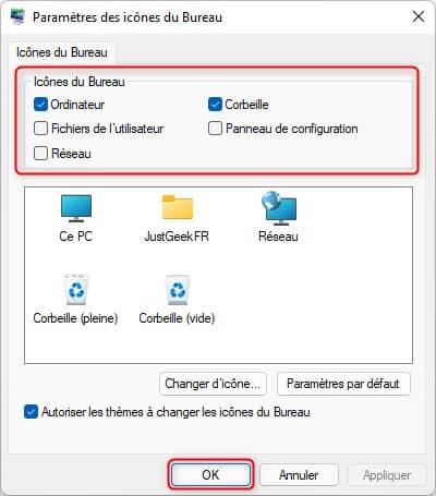 Afficher les icônes du Bureau sous Windows 11 (Ce PC, Panneau de configuration, etc.)