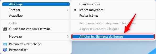 Afficher les éléments du Bureau Windows 11