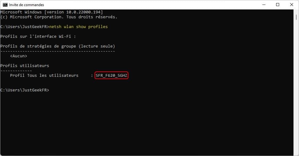 Commande pour afficher les réseaux sans fil enregistrés dans Windows 11