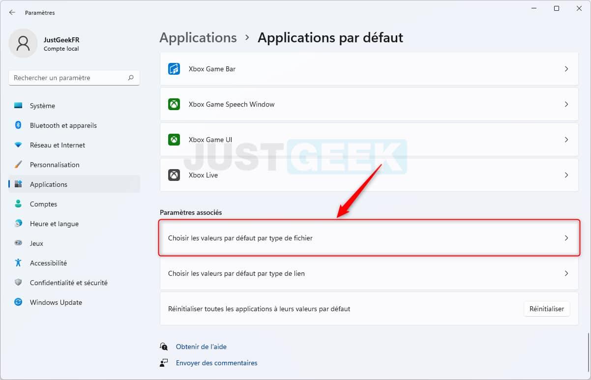 Choisir les applications par défaut par type de fichier dans Windows 11