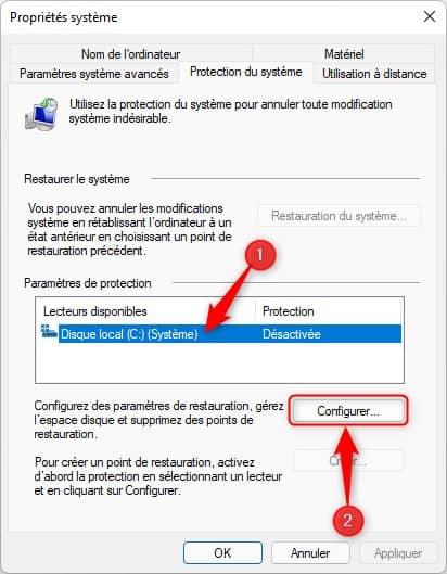 Configurer les paramètres de restauration dans Windows 11