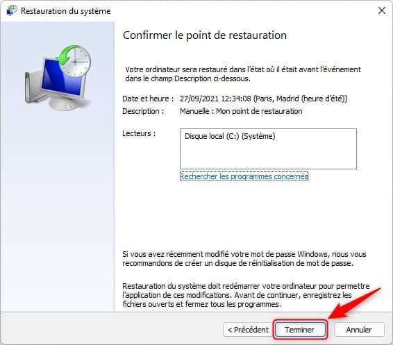 Confirmer la restauration du système Windows 11