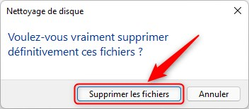 Confirmez la suppression des fichiers système sur Windows 11
