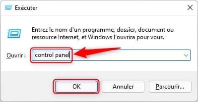 Ouvrir le Panneau de configuration via la boîte de dialogue Exécuter sous Windows 11