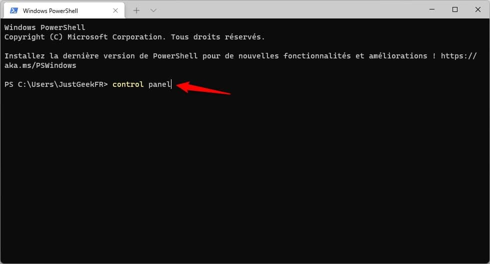 Ouvrir le Panneau de configuration à l'aide de l'Invite de commandes dans Windows 11