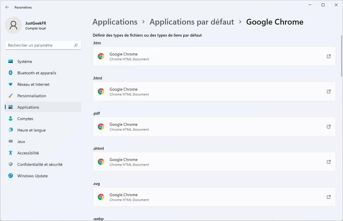 Définir Google Chrome comme navigateur Web par défaut dans Windows 11