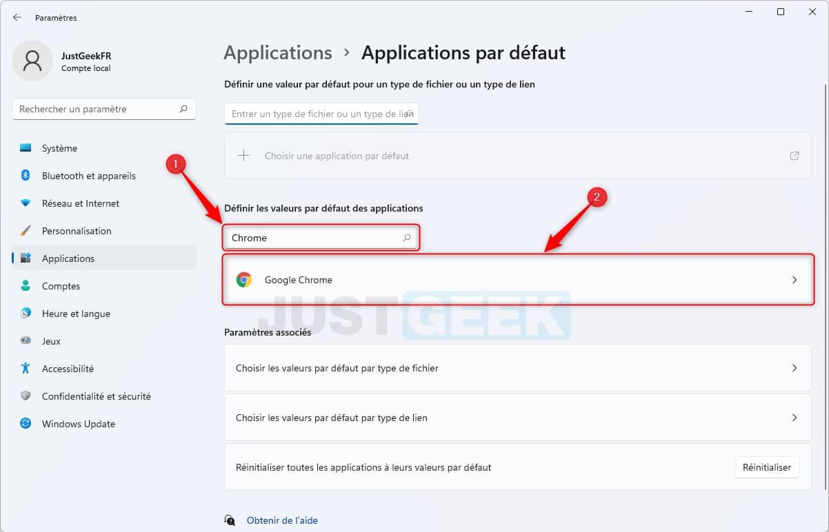 Définir les valeurs par défaut de Google Chrome dans Windows 11