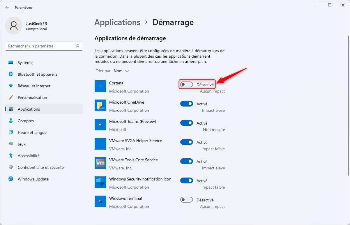 Désactiver un programme au démarrage de Windows 11