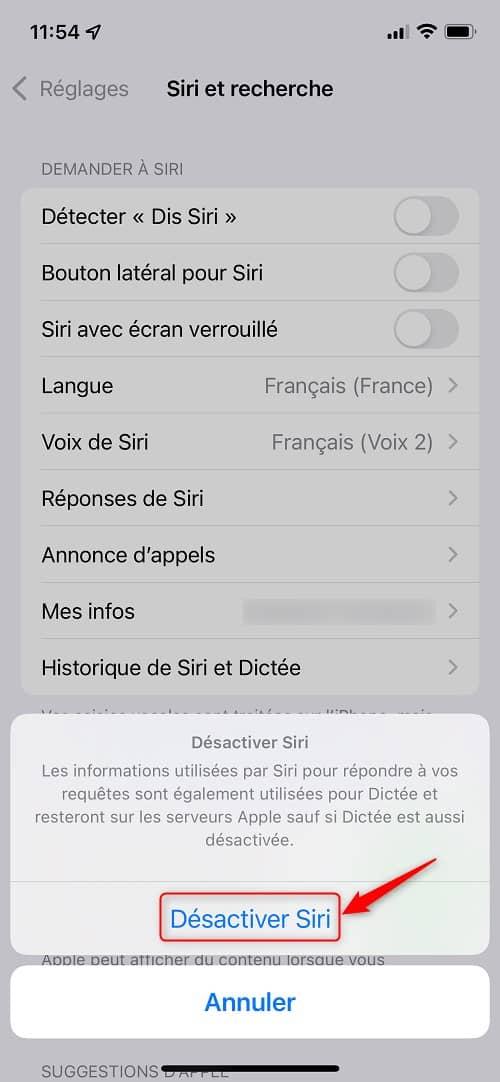 Désactiver Siri sur iPhone et iPad