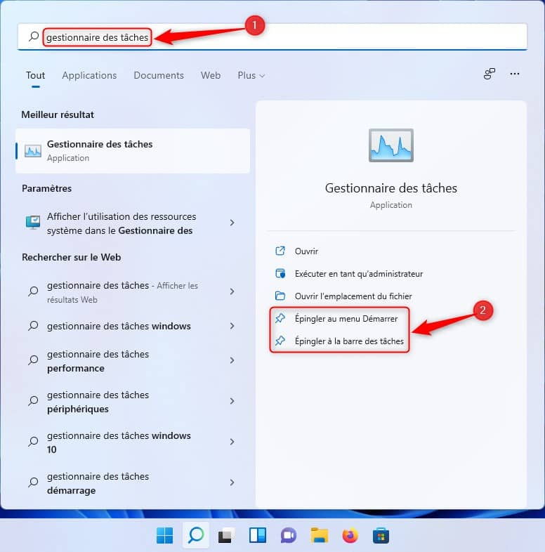 Épingler le Gestionnaire des tâches dans Windows 11