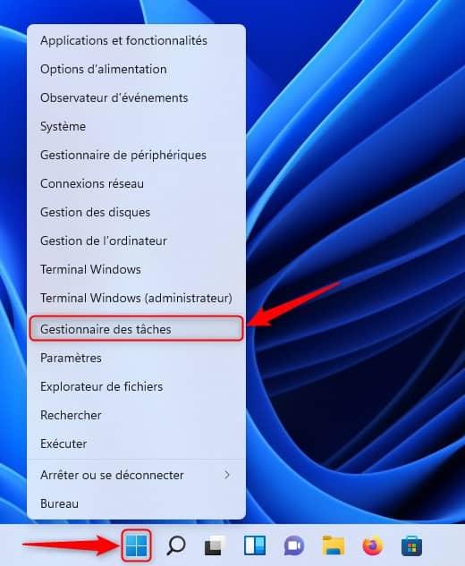 Ouvrir le Gestionnaire des tâches dans Windows 11