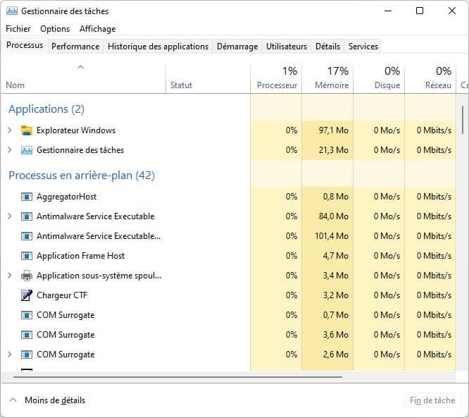 Gestionnaire des tâches Windows 11