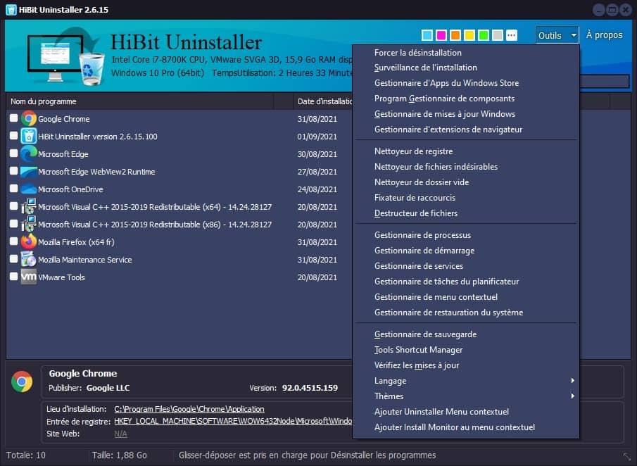 Les outils supplémentaires du logiciel HiBit Uninstaller