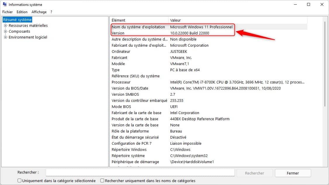 Connaître la version et la build de Windows 11 dans Informations système