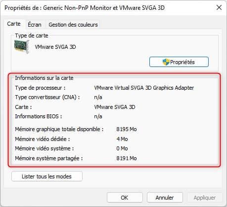 Identifier la carte graphique dans Windows 11