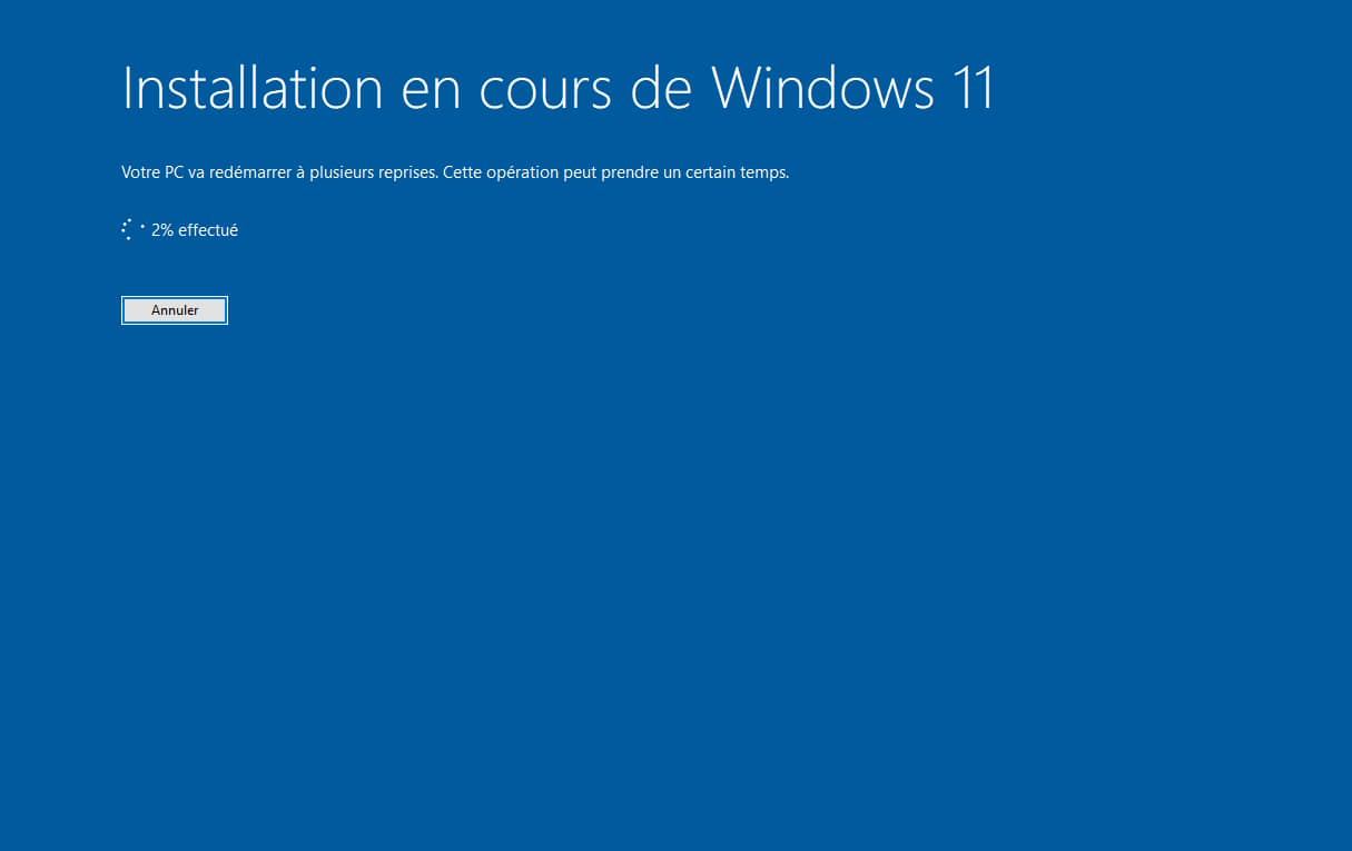 Installation en cours de Windows 11