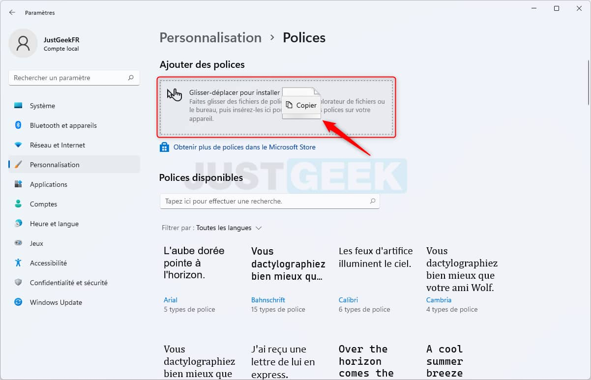 Installer une nouvelle police de caractères dans Windows 11