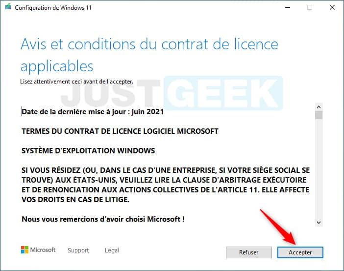 Acceptez les avis et conditions du contrat de licence applicables pour installer Windows 11