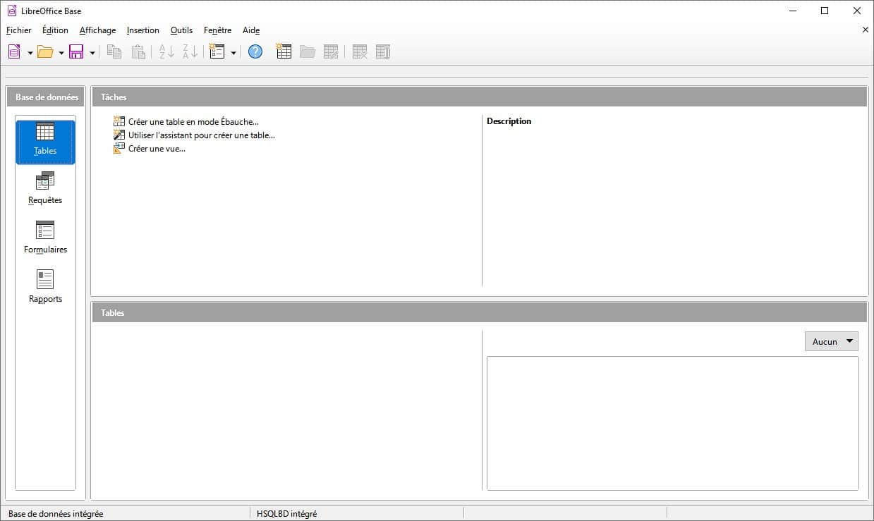LibreOffice Base : créer une base de données