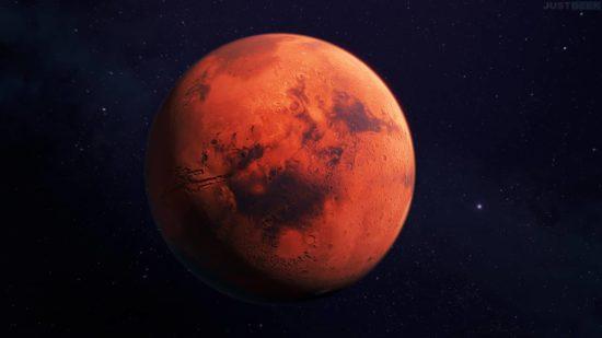 Mars, planète rouge vue 3D