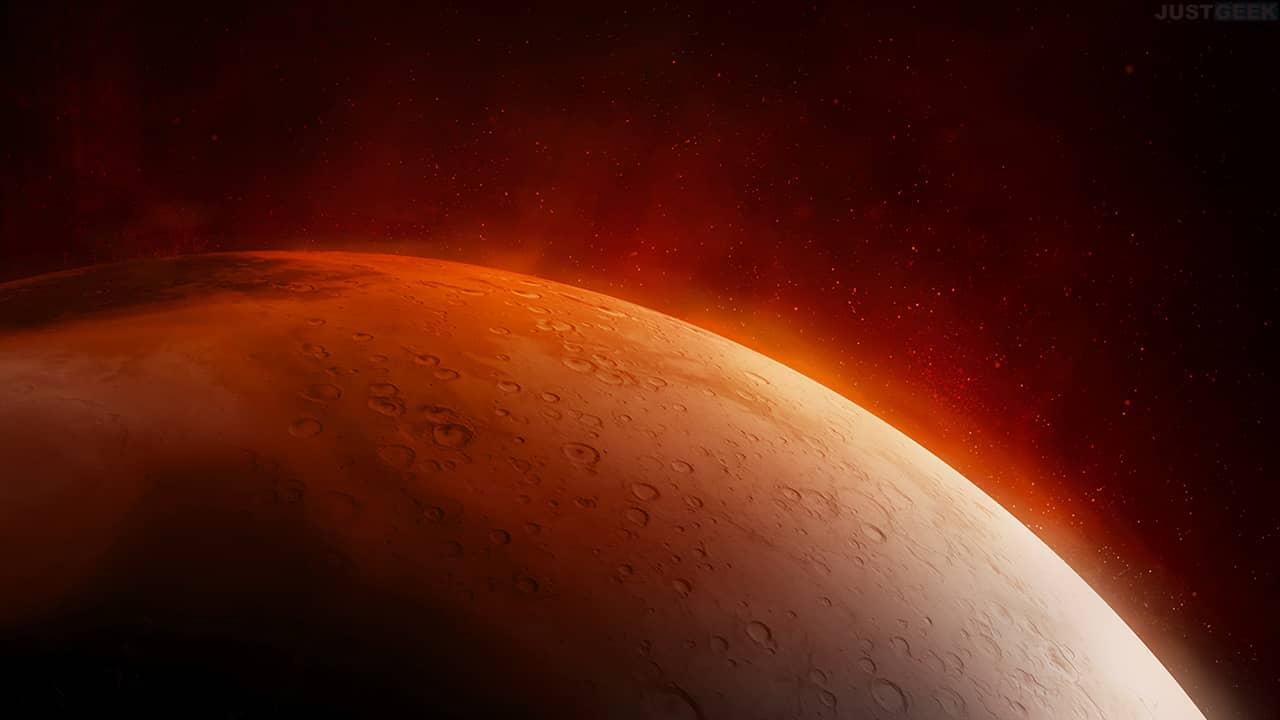 Surface de Mars, la planète rouge