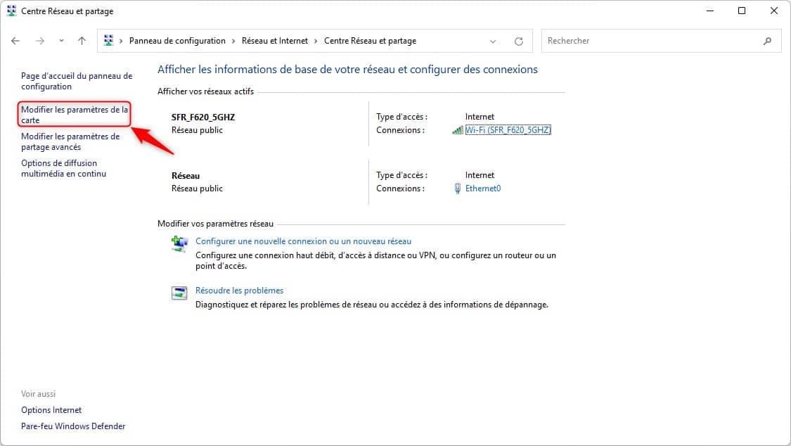 Modifier les paramètres de la carte dans le Panneau de configuration de Windows 11