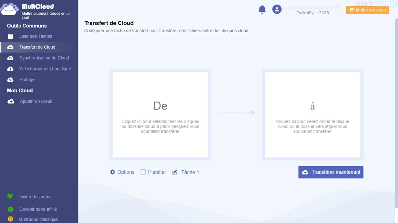 MultCloud : transférer des fichiers entre vos stockages Cloud