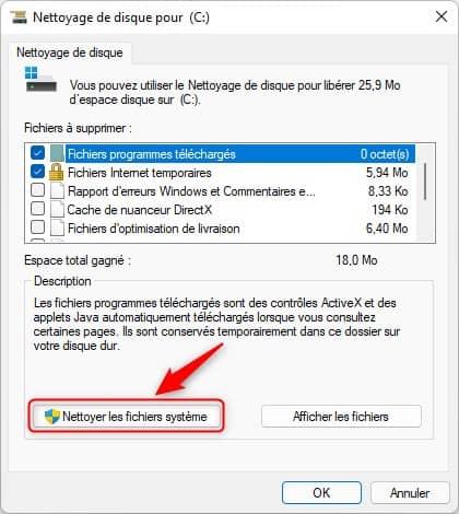 Nettoyer les fichiers système sur Windows 11