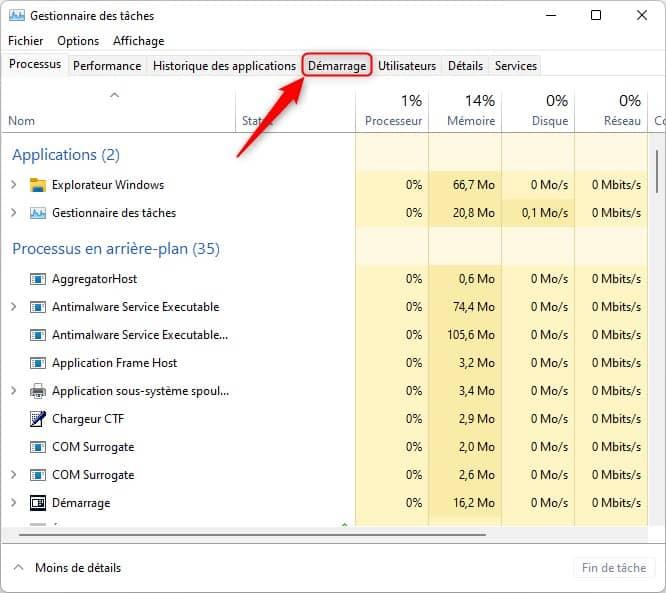 Onglet démarrage du Gestionnaire des tâches dans Windows 11