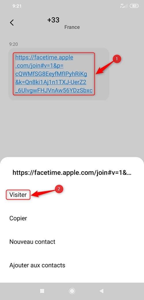 Lien FaceTime sur Android