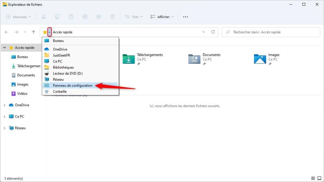 Ouvrir le Panneau de configuration depuis l'Explorateur de fichiers dans Windows 11