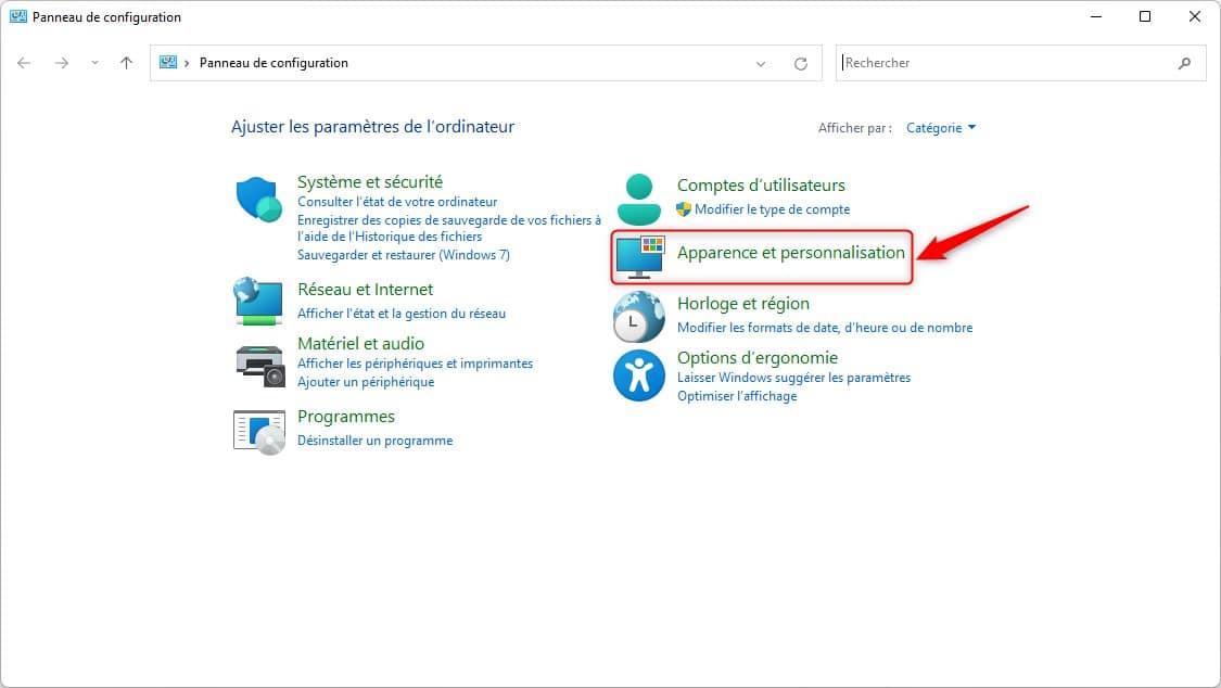 Apparence et personnalisation Panneau de configuration Windows 11