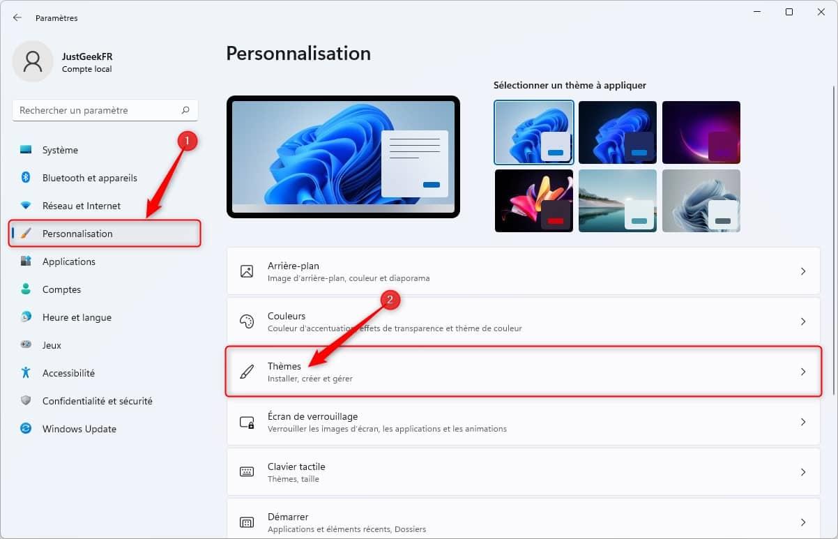 Personnalisation des thèmes dans Windows 11