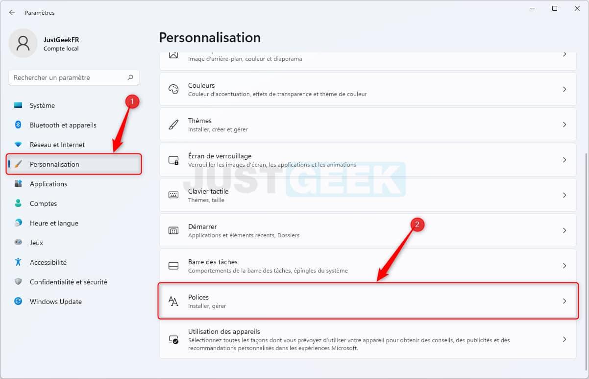 Paramètres personnalisation polices Windows 11