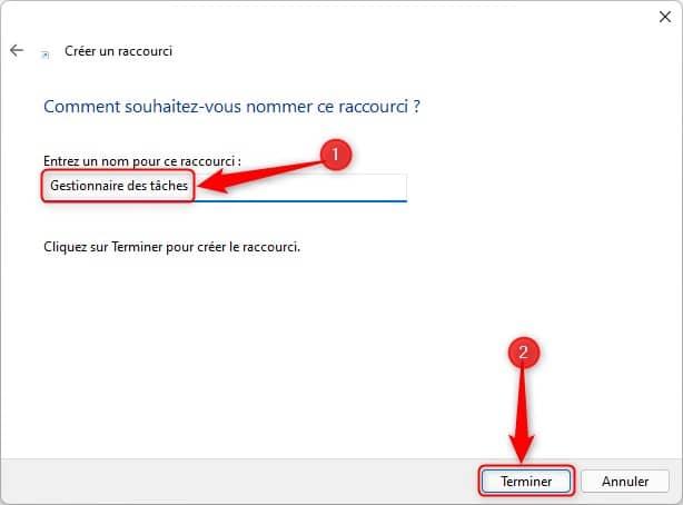 Créer un raccourci vers le Gestionnaire des tâches sur le Bureau Windows 11