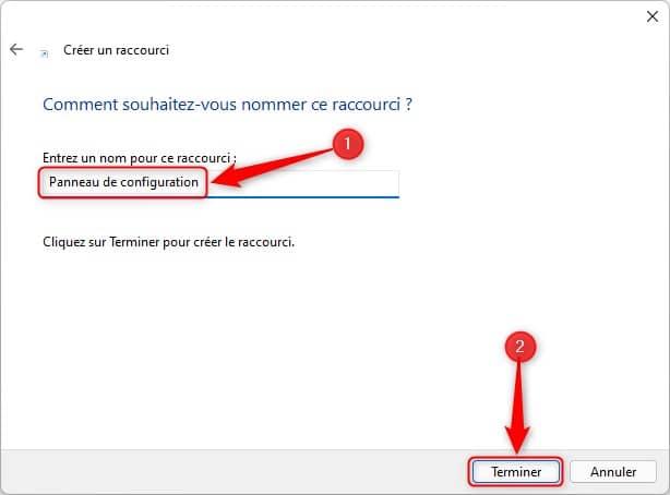 Créer un raccourci vers le Panneau de configuration sur le Bureau Windows 11